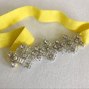 Anthropologie Jeweled Headband Neon Yellow Elastic